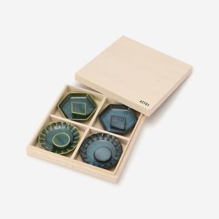 豆皿箸置ギフトセット(ブルー/グリーン)