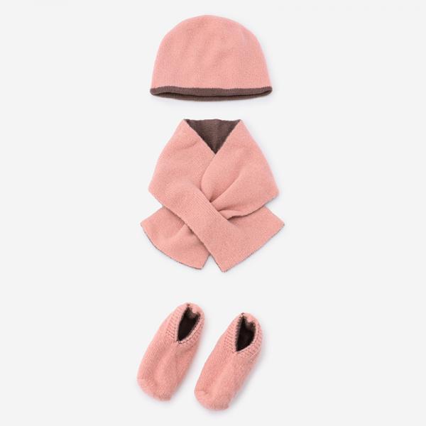 ソックス&ボウシ&マフラー GIFT SET ピンク