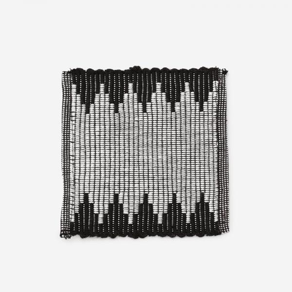 リブ織り コースター003 10×10cm ブラック
