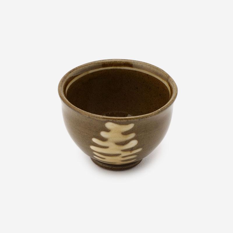美濃焼 正陶苑 スリップウェア 湯呑 ボーダー