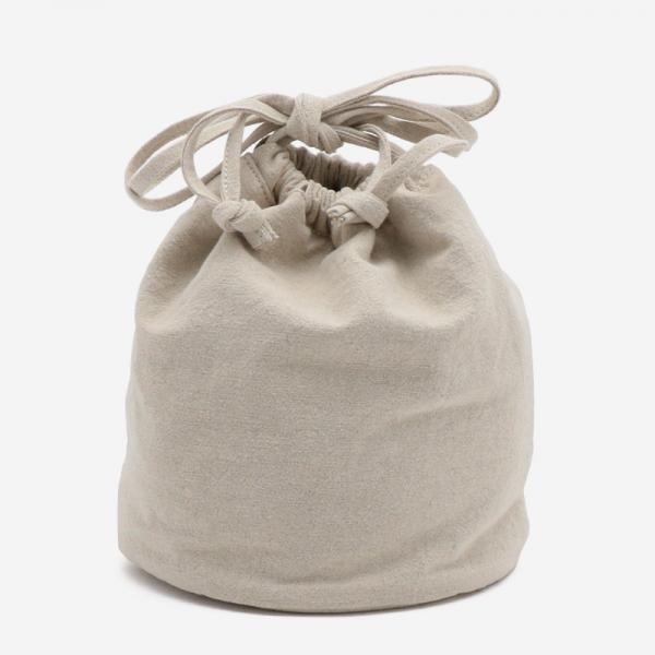 2WAY リネン巾着バッグ ベージュ/カーキ