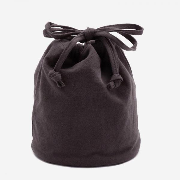 2WAY リネン巾着バッグ チャコールグレー/ブルー