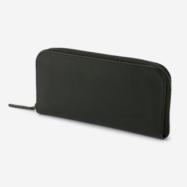 eauk LEATHER LONG ZIP WALLET BLACK