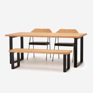 FJ ダイニングテーブル W180+FJベンチ+675チェア(レザーシート)セット