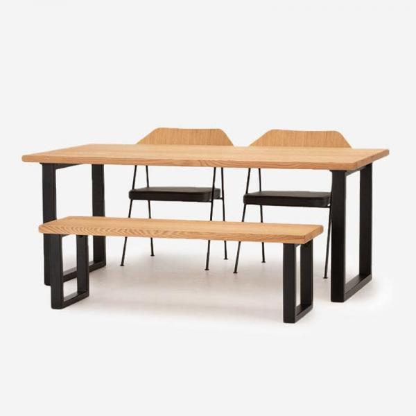 【2月下旬頃お届け】FJ ダイニングテーブル W180+FJベンチ+675チェア(レザーシート)セット