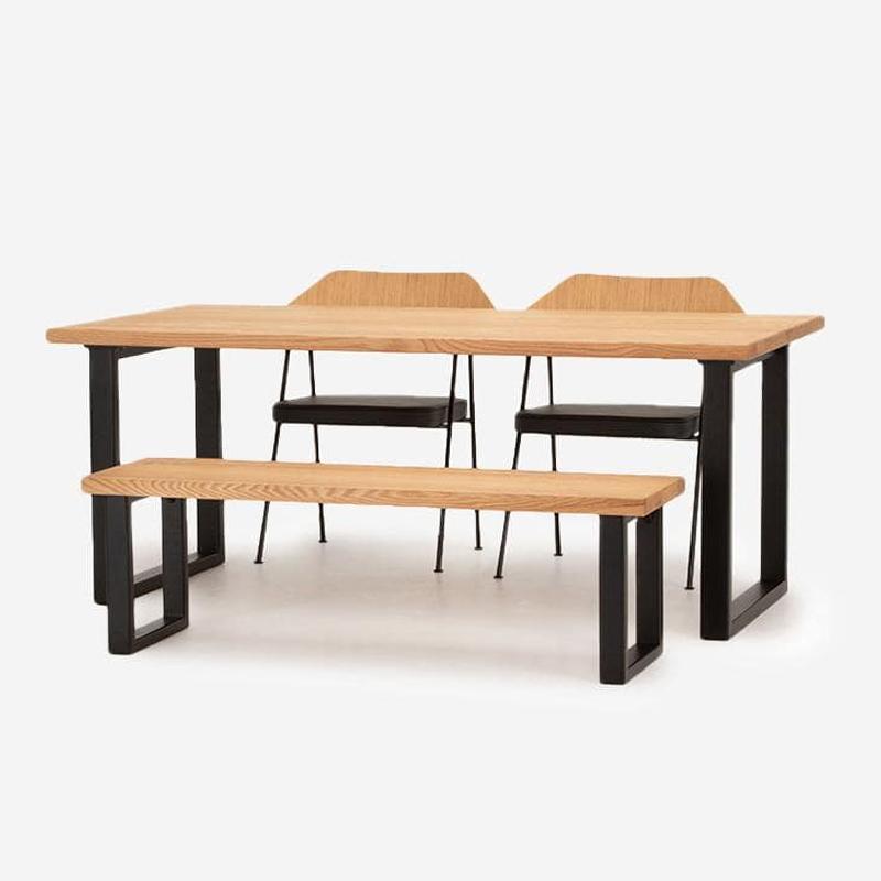 【3月上旬頃お届け】FJ ダイニングテーブル W180+FJベンチ+675チェア(レザーシート)セット