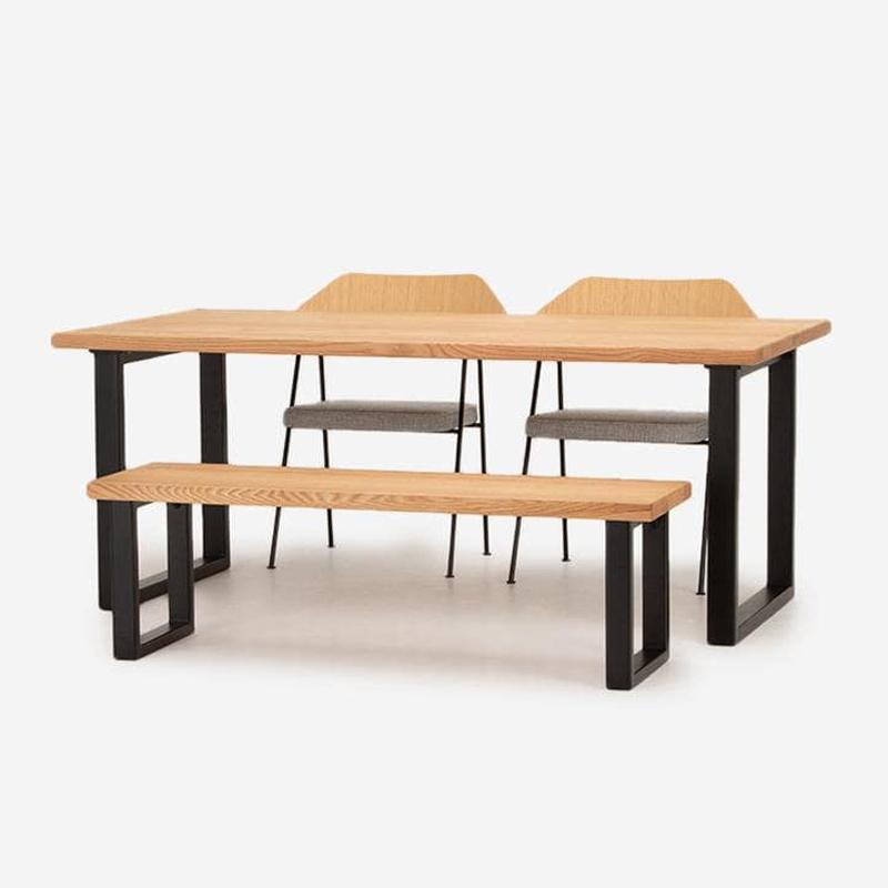 FJ ダイニングテーブル W180+FJベンチ+675チェア(ファブリックシート)セット