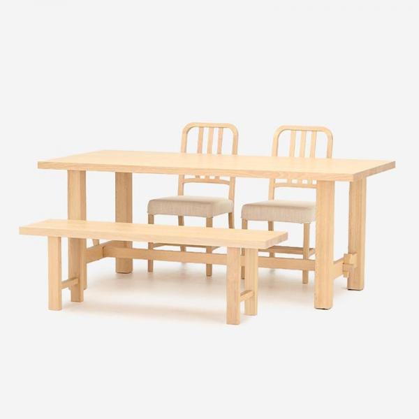 JARVI ダイニングテーブル 180cm+ベンチ+ILMAダイニングチェア2脚セット