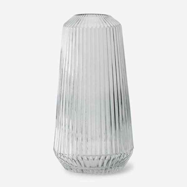 LINEガラスフラワーベース Lサイズ グレー