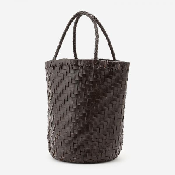 手編みレザーバッグ ダークブラウン