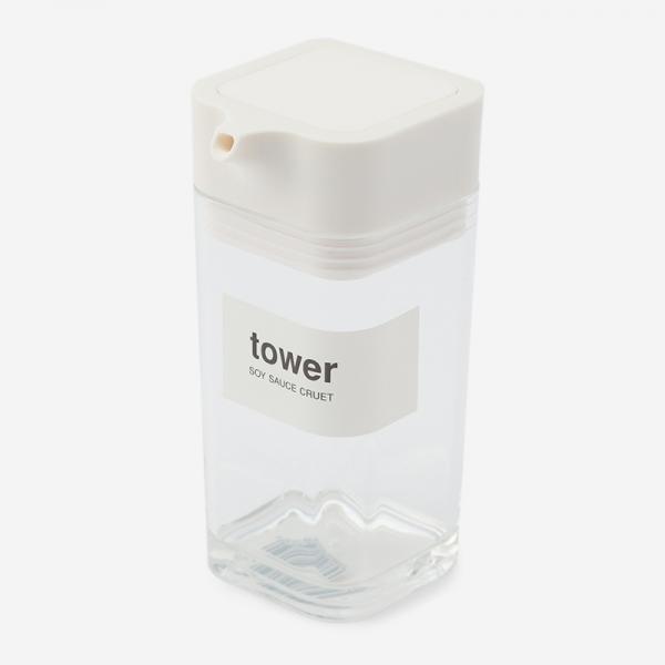 tower プッシュ式しょうゆ差し ホワイト
