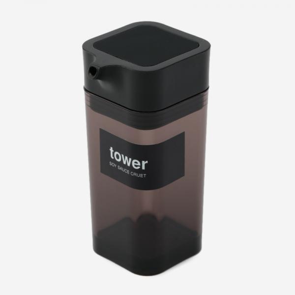 tower プッシュ式しょうゆ差し ブラック