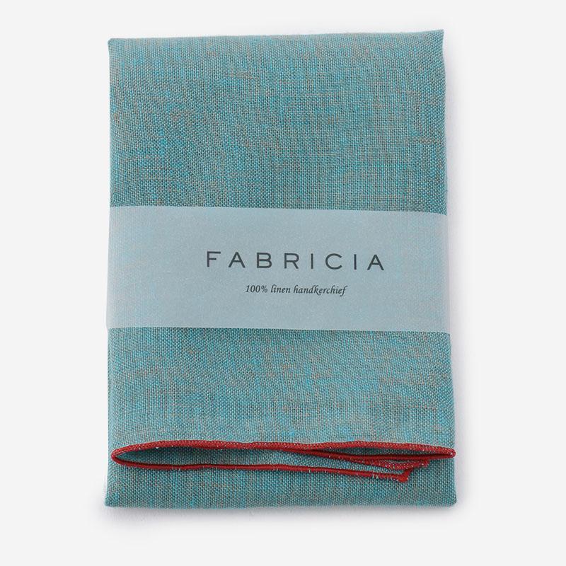 FABRICIA PLANハンカチ ブルー×レッド
