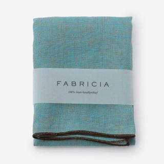 FABRICIA PLANハンカチ ブルー×ブラウン