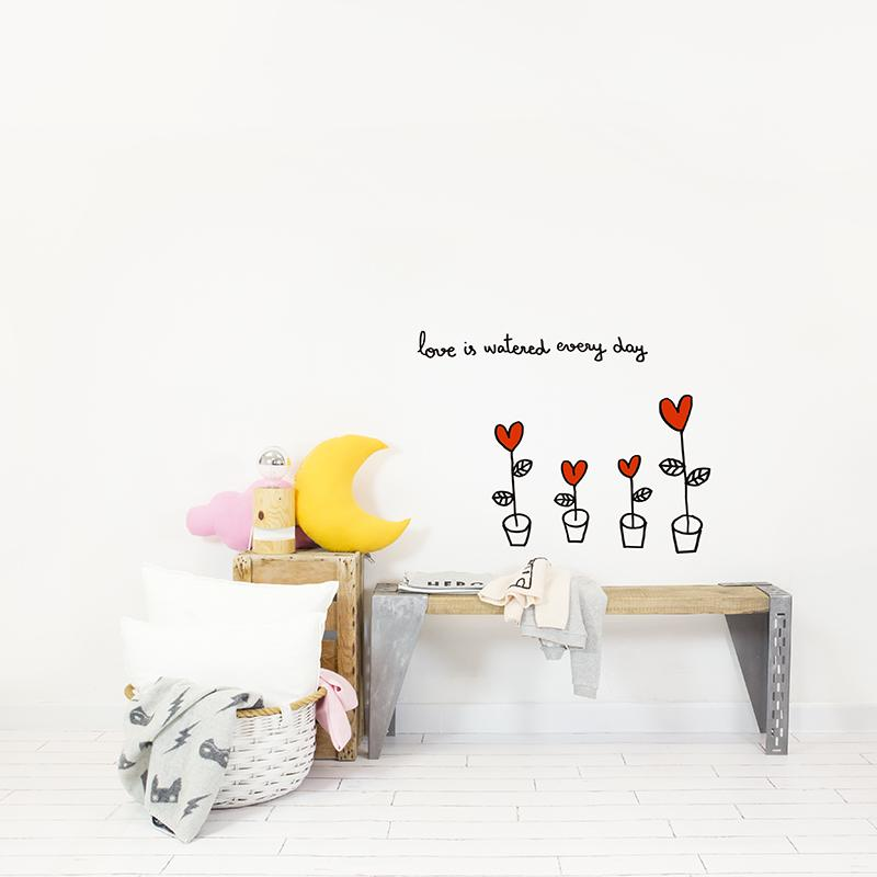 Love in Flower Pot ウォールステッカー