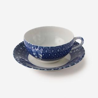 丸直製陶所 染付中碗 菱小紋