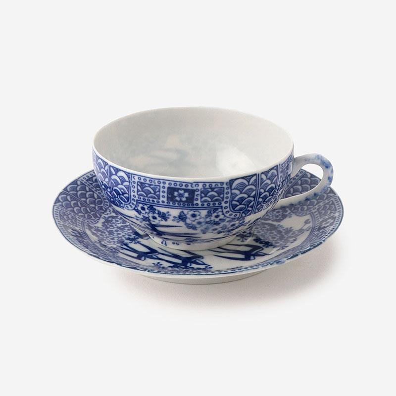丸直製陶所 染付中碗 桜つばめ