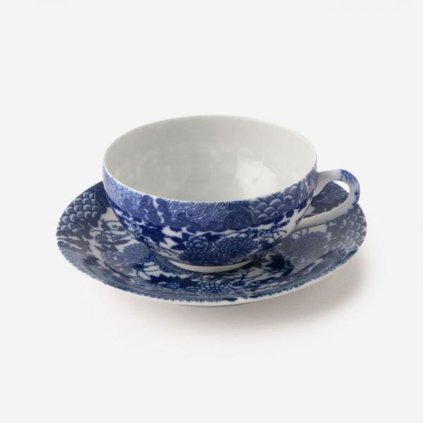 丸直製陶所 染付中碗 菊鳥