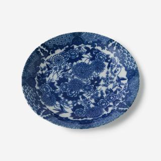 丸直製陶所 染付皿 菊鳥