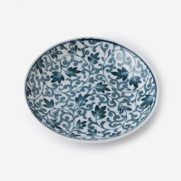 丸直製陶所 染付小皿 つる唐草 青