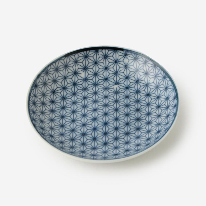 丸直製陶所 染付小皿 刺子 青