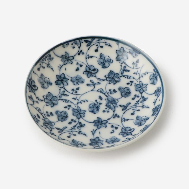 丸直製陶所 染付小皿 なずな 青