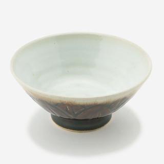 益子焼 お碗 飴釉 彫蓮
