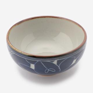 萬古焼 お碗 藍彫り花
