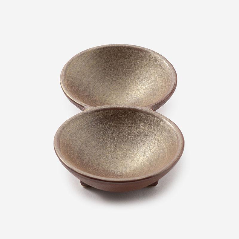 迎春和陶器 崇雪 2連豆皿 ゴールド