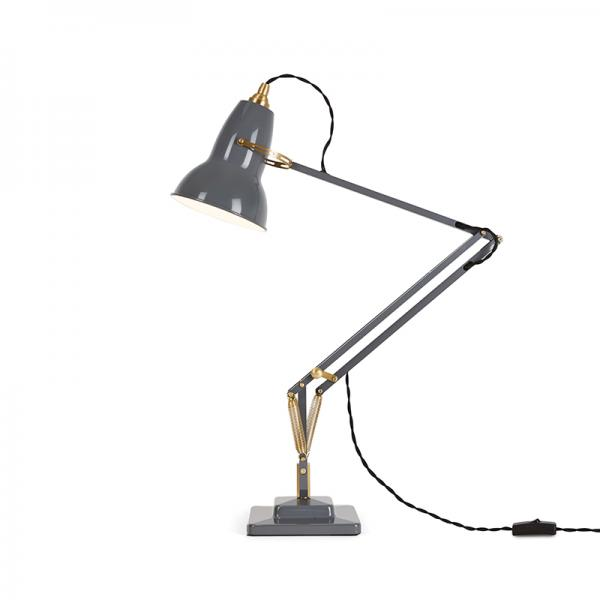 ANGLEPOISE ORIGINAL 1227 BRASS DESK LAMP ELEPHANT GREY
