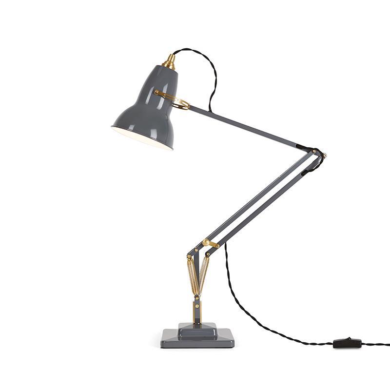 ANGLEPOISE ORIGINAL 1227 BRASS DESK LAMP ELEPHANT GREY