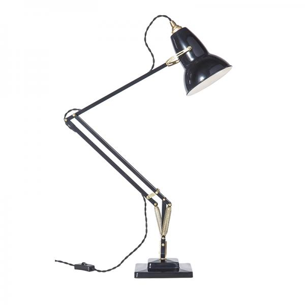 ORIGINAL 1227  BRASS DESK LAMP JET BLACKLATE