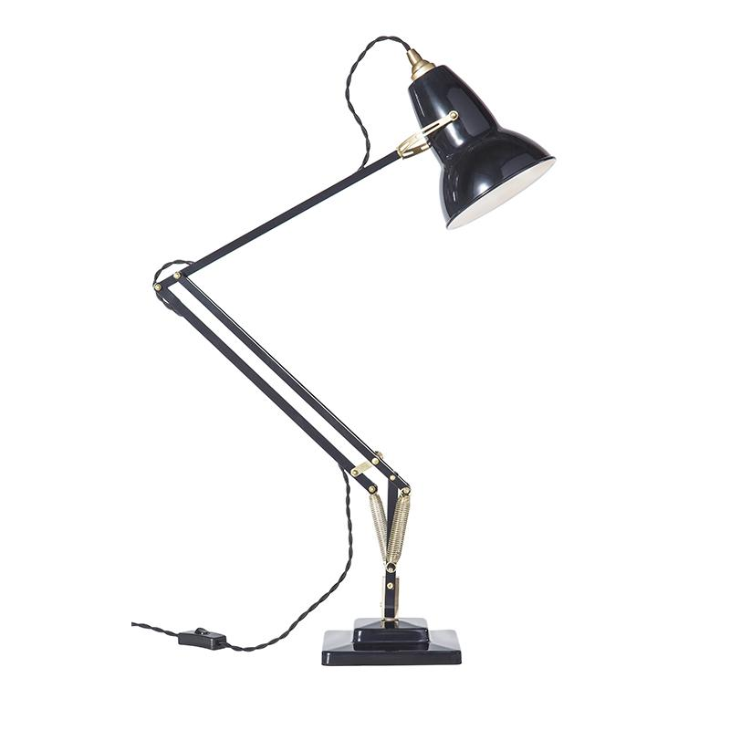 ORIGINAL 1227  BRASS DESK LAMP JET BLACKLATE