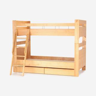 【2月上旬頃お届け】REVE2 2段ベッド 突板スノコタイプ+UNDER BOX