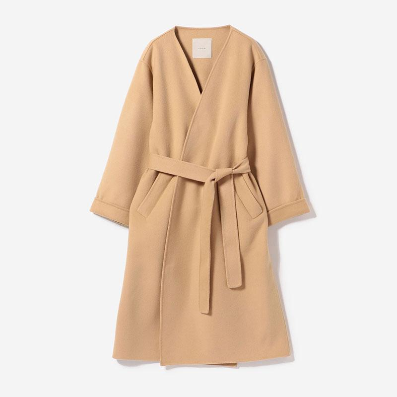eauk COLLARLESS LIGHT COAT CAMEL/womens