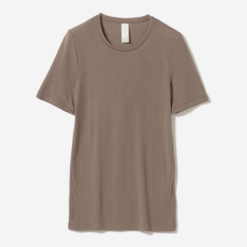 eauk WASHABLE WOOL T-SHIRT GREIGE/womens