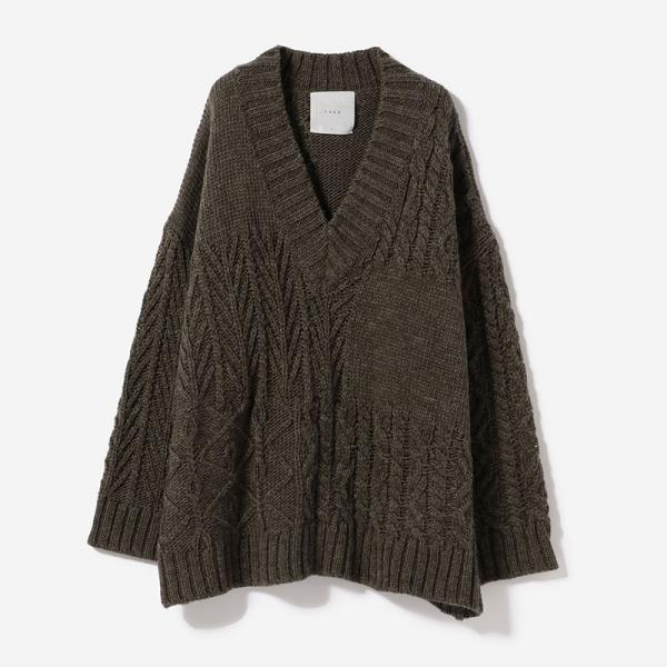eauk PATCHWORK OVWESIZED KNIT KURUMI/womens