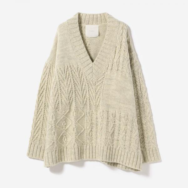 eauk PATCHWORK OVERSIZED KNIT OATMEAL/womens