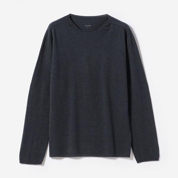 eauk CASHMERE SILK LONG SLEEVE T-SHIRT FOG/mens
