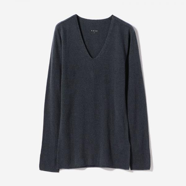 eauk CASHMERE SILK LONG SLEEVE T-SHIRT FOG/womens
