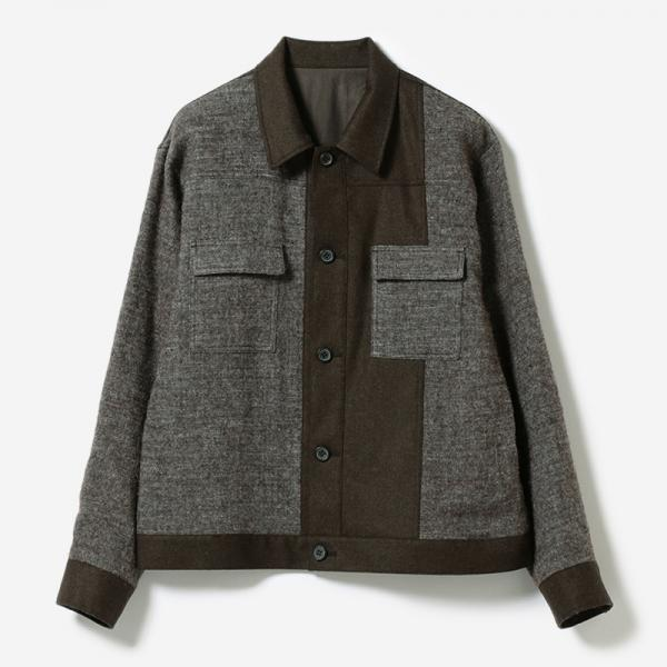 eauk PATCHWORK WOOL JACKET BR/mens