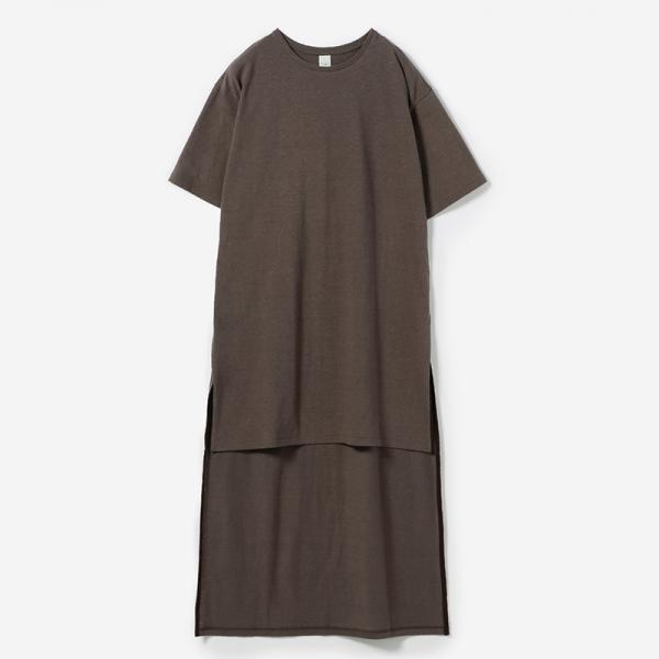 eauk IRREGULAR LENGTH T-SHIRT BROWN/womens