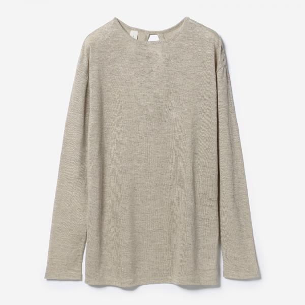 eauk LINEN SLIT LONG SLEEVE SHIRT HEMP/womens