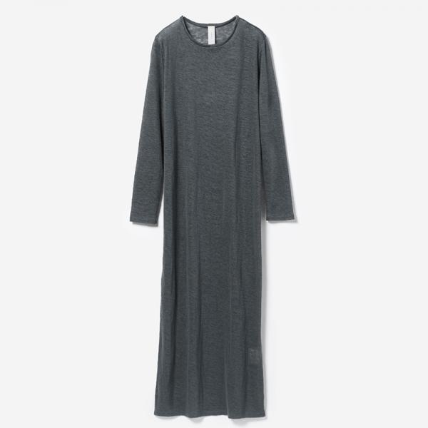 eauk LINEN LONG T-DRESS NSBL /womens