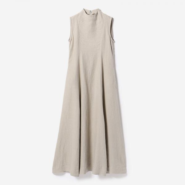 CLOGGED NECK DRESS GREIGE/womens