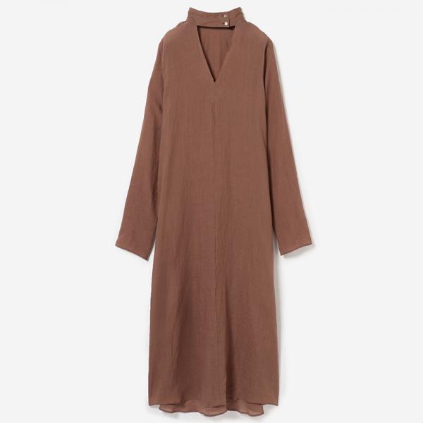 eauk V-NECK SHIRT DRESS COGNAC/women