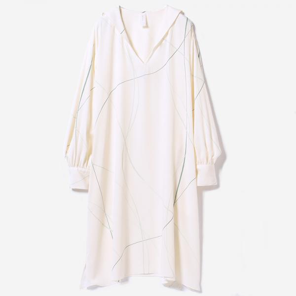 eauk LINE PRINT DRESS OFF WHITE / woman