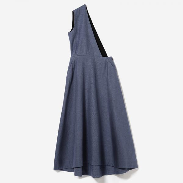 eauk LINEN ASYMMETRY DRESS NSBL/womens