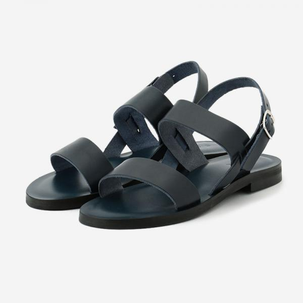 LEATHER SANDAL NAVY/womens